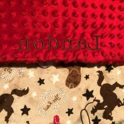 Personalized Minky Baby Blanket Cowboys/Stroller Blanket/Lov