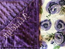 Personalized Minky Baby Blanket Purple Roses/Stroller Blanke