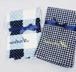 Personalized Minky Baby Boy Blue Blanket in Houndstooth Plai