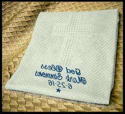 Personalized Monogrammed Baby Blanket for Boys ~ Cross baby