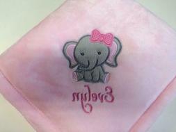 Personalized Monogrammed Cute Elephant Baby Girl Blanket Bab