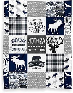 Personalized Moose Plush Baby Blanket Woodland Boho for Boy