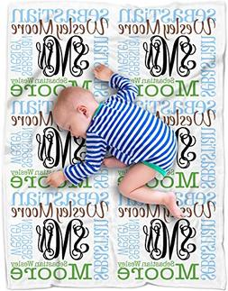 Personalized Baby Name Blanket Monogrammed Baby Shower Gift