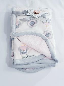 Personalized Owl Sherpa Minky Baby Blanket 30x40 - Baby Show