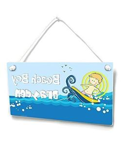 Personalized Themed Nursery Plaque Beach Boy Surfing