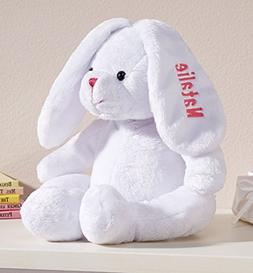 Personalized White Plush Bunny