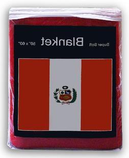 Peruvian Flag Fleece Blanket 5 ft x 4.2 ft. Peru Flag Throw
