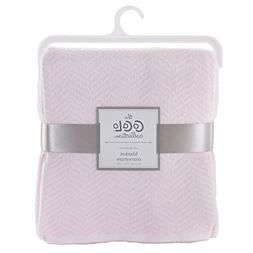 Petal Pink Herringbone Knitted Blanket - Voile Collection