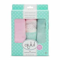 lulujo Baby Piece Cotton Muslin Security Blankets Pink Spott