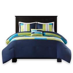 Comfort Spaces - Pierre Comforter Set - 3 Piece - Dark Blue/