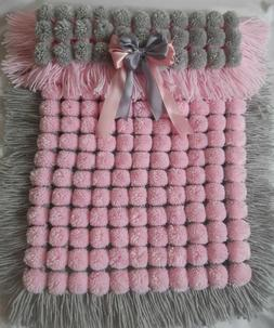 PINK AND GREY POM POM TURNOVER BABY  BLANKET, LONG TASSELS,