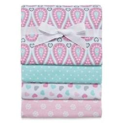 Okie Dokie Pink & Mint Patterned 4-Pack Receiving Blankets f