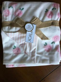 Pink and White Baby Blanket Micro Mink Reversible  Roses And