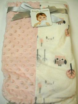 Blankets and beyond Pink and White Patchwork Popcorn  owl  b