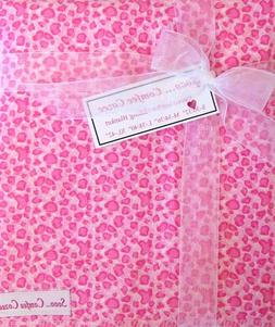 "PINK ANIMAL PRINT FLANNEL BABY RECEIVING BLANKET  32"" x 32"""