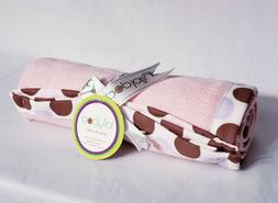 pink baby blanket purple brown polka dot