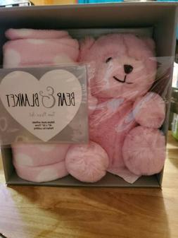 SILVER ONE  Pink Bear & Blanket newborn gift set