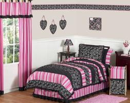 Pink and Black Madison Girls Kids & Teen Bedding 4pc Twin Se
