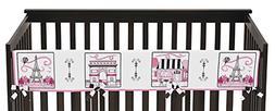 Sweet Jojo Designs Pink and Black Paris Theme Long Front Rai
