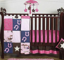 Sweet Jojo Pink Brown Horse Cowgirl Bumperless Baby Girl 4pc