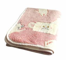 LAGHCAT Pink Cat's Back Fleece Bed Blanket for Adult and Kid