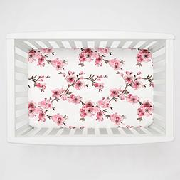 Carousel Designs Pink Cherry Blossom Mini Crib Sheet 1-Inch-