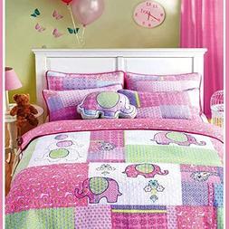 Brandream 3-Piece Pink Elephant Quilt Set Girls Kids Bedding