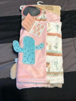 MODERN BABY Pink Faux Sherpa Llama Cactus  Quilted Activity