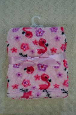 Cutie Pie Pink Flamingo Baby Blanket Purple Black White Flow