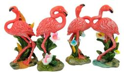 Set of 4 Pink Flamingo Wading Bird Figurine 5 Inch Stone Res