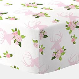 Carousel Designs Pink Floral Deer Head Crib Sheet - Organic