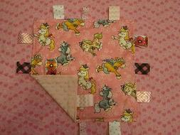 Pink Girl Princess Flowered Horse Cotton/Minky Baby Tag Ribb