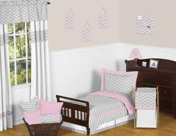 Sweet Jojo Designs 5-Piece Pink and Gray Chevron Zig Zag Tod