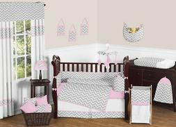 Pink and Gray Chevron Zig Zag Baby Bedding 9pc Crib Set by S