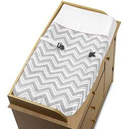 Pink and Gray Chevron Zig Zag Baby Changing Pad Cover by Swe