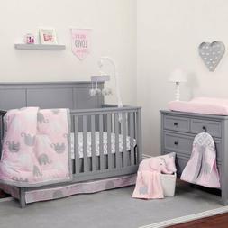 Pink Gray Elephant 8pc Crib Bedding Set Baby Girl Nursery Bl