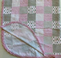 Handmade Pink Gray Flannel Baby Blanket Pink Scalloped Trim
