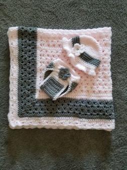Pink / Gray Ruffle Hand Crochet Baby Blanket w/ lots of extr