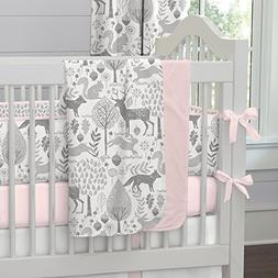 Carousel Designs Pink and Gray Woodland Crib Blanket
