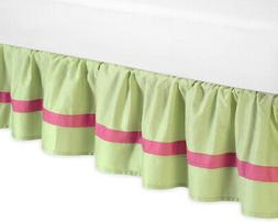 Pink and Green Flower Collection Bed Skirt for Toddler Beddi