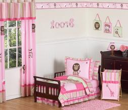 Sweet Jojo Designs 5-Piece Pink and Green Girls Jungle Toddl