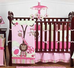 Sweet Jojo Designs Pink and Green Jungle Safari animal theme