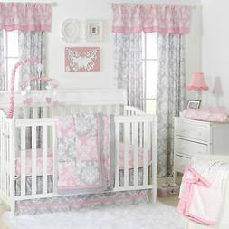 Pink and Grey Damask Patchwork 3 Piece Baby Crib Bedding Set