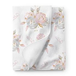 Pink and Grey Floral Personalized Baby Girl Blanket, Shabby