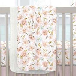 Carousel Designs Pink Hawaiian Floral Crib Blanket