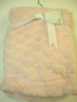 Baby Gear Pink Heart Embossed Baby Girl Blanket Reversible