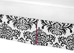 Hot Pink, Black and White Isabella Bed Skirt for Toddler Bed