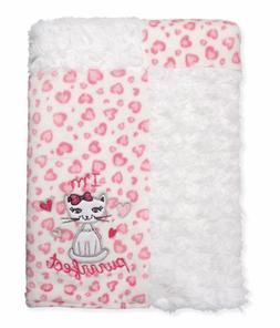 Pink Kitty Cat Heart Baby Girl Blanket Quiltex Fleece NEW Ba