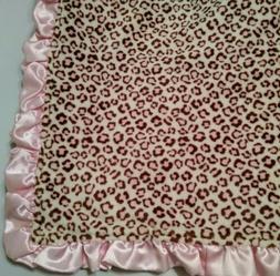 pink leopard print girls baby blanket plush