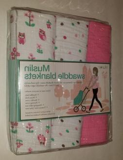 Pink Muslin Swaddle Blankets 3 pack - Polka Dots/Owls - Loll